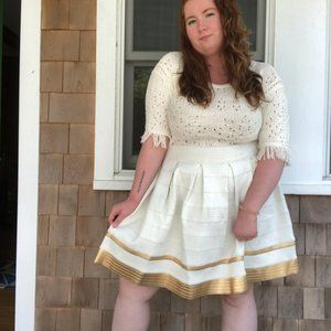Ashley Stewart White Gold Mini A line Skirt 20